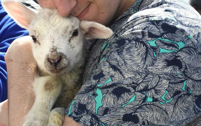 Craig holding a lamb