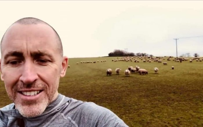 JP at FARS with all the sheep
